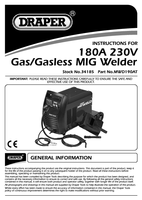 Instruction Manual for Draper 180A 230V Gas/Gasless MIG Welder 34185 (MWD190AT)
