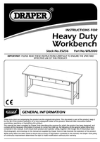 Instruction Manual for Draper Expert Heavy Duty Steel Workbench with Three Drawers 35236 (WB2000)
