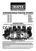 Instruction Manual for Draper 144l/min (Max.) 350w 230v Submersible Water Pump With Float Switch 35465 Swp144A