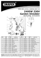 Parts List for Draper 2400W 230V Garden Shredder 35900 (GS2402)