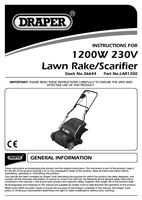 Instruction Manual for Draper 1200w 330mm 230v Lawn Scarifier And Aerator (2 In 1) 36644 (Lar1200)