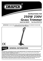 Instruction Manual for Draper 250W 230mm 230V Grass Trimmer with Single Line Feed 36649 (GT2317A)