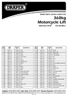 Parts List for Draper 360kg Hydraulic Motorcycle Lift 37058 Mcl1