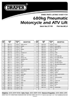 Parts List for Draper 680kg Pneumatic/hydraulic Motorcycle/atv.small Garden Machinery Lift 37190 Mcl4