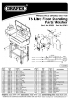 Parts List for Draper Floor Standing Parts & Components Washer 37825 Dpw1