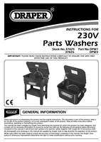 Instruction Manual for Draper Bench Mounted Parts & Components Washer 37826 Dpw2