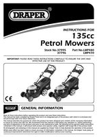 Instruction Manual for Draper Expert 135cc (3.2hp) 460mm 3 In 1 Self Propelled Petrol Mower 37995 (Lmp480)