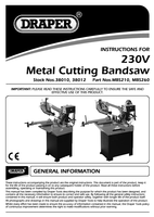 Instruction Manual for Draper 1100w 2460mm 230v Horizontal Metal Cutting Bandsaw 38012 (Mbs260)