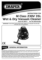 Instruction Manual for Draper Expert 35l 1200w 230v M-class Wet And Dry Vacuum Cleaner 38015 (Wdv35lmc)