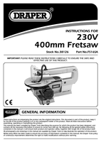Instruction Manual for Draper 400mm 85w 230v Fretsaw 38126 (Fs16sa)
