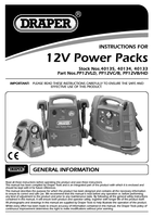 Instruction Manual for Draper 12v 700a Portable Power Pack With Air Compressor And Integral Light 40134 Pp12vc/b