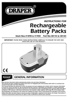 Instruction Manual for Draper Spare 14.4 Battery Pack 41898 Cb143