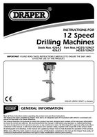 Instruction Manual for Draper 1500w 230v 12 Speed Floor Standing Heavy Duty Industrial Drill (32mm Cap.) 42637 Hd32/12acf