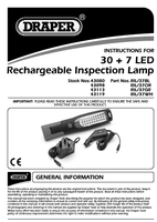 Instruction Manual for Draper Expert Orange 37 Led Rechargeable Magnetic Inspection Lamp 43098 (Ril/37or)