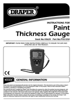 Instruction Manual for Draper Expert Ultrasonic Paint Thickness Gauge 43620 (Ptg1250)