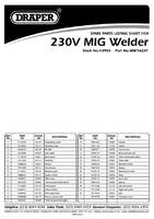 Parts List for Draper 150a 230v Turbo Mig Welder 43950 Mw162at