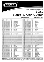 Parts List for Draper Expert 32Cc Petrol Grass Cutter 45576 Gtp3223