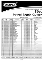Parts List for Draper Expert 30cc Petrol Brush Cutter And Line Trimmer 45577 Gtp3222
