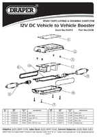 Parts List for Draper 12v Dc Vehicle To Vehicle Booster 46544 (C2Cb)