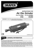 Instruction Manual for Draper Expert 6mm Compact Soft Grip Air Angle Die Grinder 47565 5221pro
