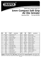 Parts List for Draper Expert 6mm Compact Soft Grip Air Angle Die Grinder 47565 5221pro