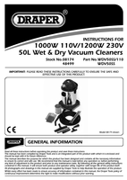 Instruction Manual for Draper 1400w 50l 230v Wet And Dry Vacuum Cleaner With Stainless Steel Tank And 230v Power 48499 Wdv50ss