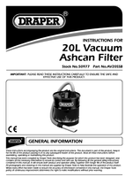 Instruction Manual for Draper 22l Ash Can Vacuum Attachment 50977 (Av20ssb)