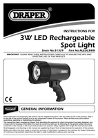 Instruction Manual for Draper 3W LED Rechargeable Spot Lamp 51329 (RLEDL3WB)