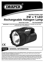 Instruction Manual for Draper 3w 9 Led Rechargeable Torch 51339 (Rled3/9)