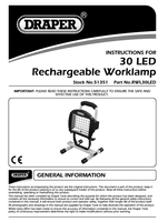Instruction Manual for Draper Expert 30 Smd Led Rechargeable Worklamp 51351 (Rwl30led)