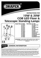 Instruction Manual for Draper Expert 230v 20w Cob Led Worklamp With Telescopic Tripod 51375 (Cl20t)