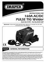 Instruction Manual for Draper Expert 160a 230v Tig Hf Welder 51499 (Acdc160p)