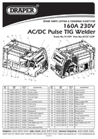 Parts List for Draper Expert 160a 230v Tig Hf Welder 51499 (Acdc160p)