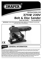 Instruction Manual for Draper 300W 230V Belt and Disc Sander 53005 (BDS150)