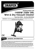 Instruction Manual for Draper 30L 1400W 230V Wet and Dry Vacuum Cleaner with Stainless Steel Tank 53006 (WDV30SSA)