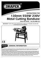 Instruction Manual for Draper 550w 1640mm 230v Horizontal Metal Cutting Bandsaw 53040 (Mbs150)
