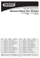 Parts List for Draper 100a 230v Turbo Arc Welder 53082 (Aw105t)