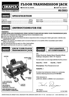 Instruction Manual for Draper 150kg Floor Transmission Jack 53095 Tj200t