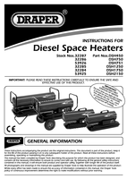Instruction Manual for Draper 75,000 Btu (22kw) Diesel/kerosene/paraffin Space Heater 53926 (*dsh751 Cw Whls)