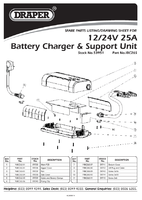 Parts List for Draper 25a Battery Charger (12/24v) 53951 (Ibc26s)
