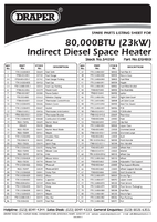 Parts List for Draper 80,000 Btu (33kw) Indirect Diesel/kerosene/paraffin Space Heater 54050 (Dsh80i)