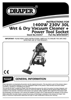 Instruction Manual for Draper 30l 1400w Wet And Dry Vacuum Cleaner With With Integrated 230v Power Socket 54257 (Wdv30ssp1)