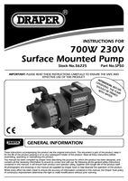 Instruction Manual for Draper 50l/min (Max) 700w 230v Surface Mounted Pump 56225 Sp50