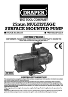 Instruction Manual for Draper 100l/min (Max) 1000w 230v Multistage Surface Mounted Pump 56227 Sp100/4
