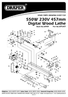 Parts List for Draper 550w 230v Compact Digital Variable Speed Wood Lathe 60989 (Wtl457)