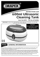 Instruction Manual for Draper 600ml Ultrasonic Cleaning Tank 60991 (Uct600ml)