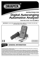 Instruction Manual for Draper Expert Autoranging Digital Automotive Analyser with Stand and Rubber Holster 61023 (DMM14)
