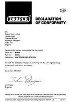 Declaration of Conformity for Draper Soldering Station (40W) 61478 (SI400)