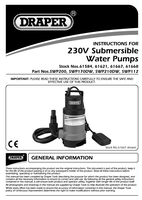 Instruction Manual for Draper Submersible Water Pump With Float Switch (191l/min) 61584 (Swp200)