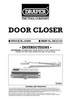 Instruction Manual for Draper Adjustable Automatic Door Closer For Doors Between 25kg & 45kg 62893 Dc 25/45